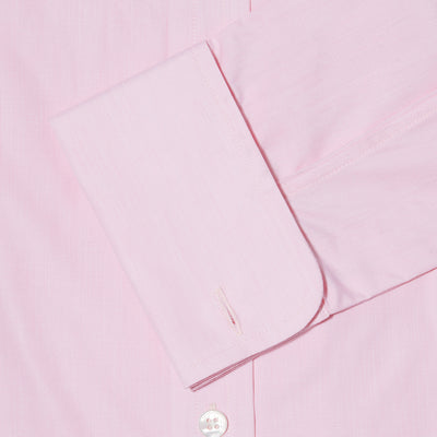 Classic Fit, Cut-away Collar, Double Cuff Shirt in a Plain Pink End-On-End Cotton