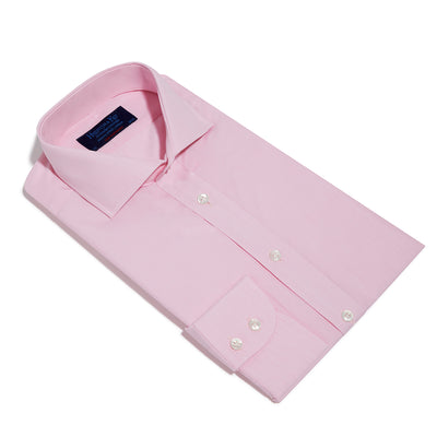 Contemporary Fit, Cut-away Collar, 2 Button Cuff Shirt in a Plain Pink End-On-End Cotton