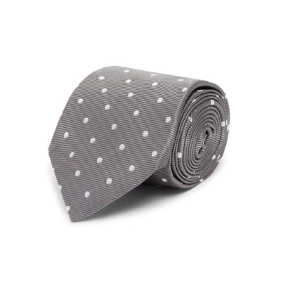 Dark Grey Twill with White Spots Woven Silk Tie