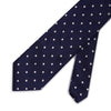 Navy Twill with White Spots Woven Silk Tie