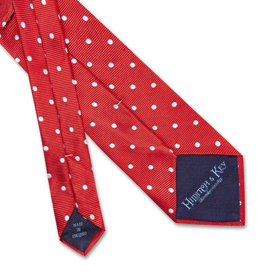 Red Twill with White Spots Woven Silk Tie
