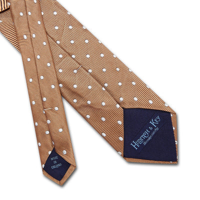 Tan Twill with White Spots Woven Silk Tie