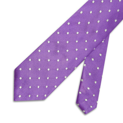 Purple Twill with White Spots Woven Silk Tie