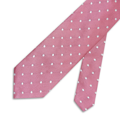 Baby Pink Twill with White Spots Woven Silk Tie