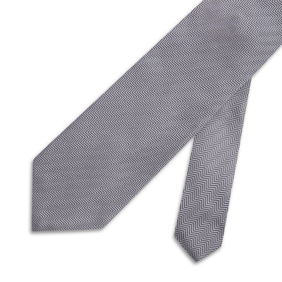 Light Grey Herringbone Woven Silk Tie