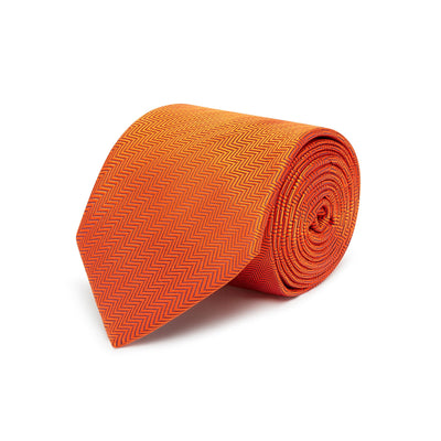 Orange Herringbone Woven Silk Tie
