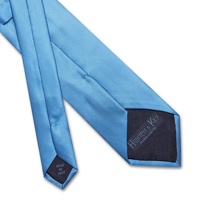 Plain Blue Printed Silk Tie