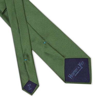 Plain Green Printed Silk Tie