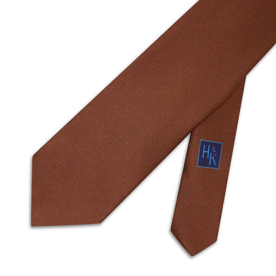 Plain Brown Printed Silk Tie