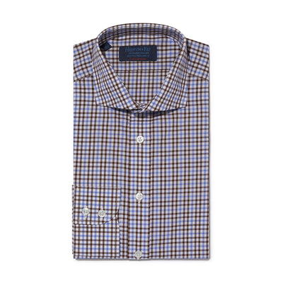 Contemporary Fit, Cutaway Collar, 2 Button Cuff Shirt in a Brown, Blue & White Gingham Check Poplin Cotton