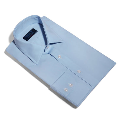 Classic Fit, Classic Collar, 2 Button Cuff Shirt in a Plain Sky Blue Poplin Cotton