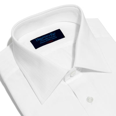 Classic Fit, Classic Collar, Double Cuff Shirt in a Single Satin Stripe White-On-White Cotton