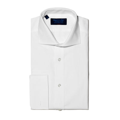 Classic Fit, Cut-away Collar, Double Cuff Shirt in a Grid Check White-On-White Cotton