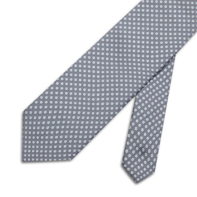 Grey with White & Blue Flowers Woven Silk Tie