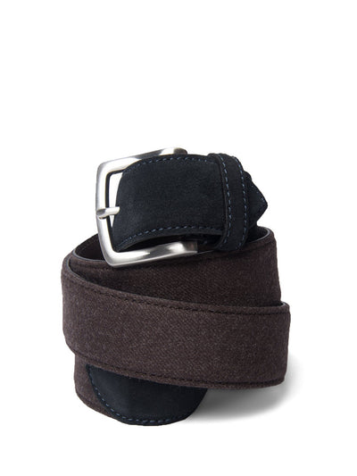 Brown Flannel & Navy Suede Belt