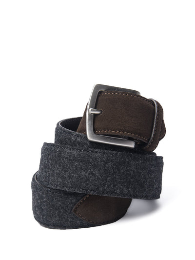 Grey Flannel & Brown Suede Belt
