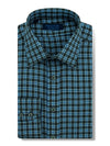 Contemporary Fit, Classic Collar, 2 Button Cuff Shirt in a Grey & Blue Check Twill Cotton