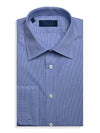 Contemporary Fit, Classic Collar, Double Cuff Shirt in a Blue & White Shepherds Check Poplin Cotton