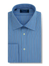 Contemporary Fit, Classic Collar, Double Cuff Shirt in a Blue, White & Navy Stripe Poplin Cotton