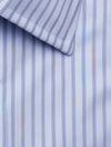 Contemporary Fit, Classic Collar, Double Cuff Shirt in a Blue & Wine Satin Stripe Twill Cotton