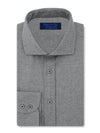 Contemporary Fit, Cut-away Collar, 2 Button Cuff Shirt in a Plain Charcoal Herringbone Cotton
