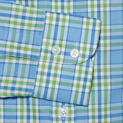 Contemporary Fit, Cut-away Collar, 2 Button Cuff Shirt in a Green, Blue & White Large Check Oxford Cotton
