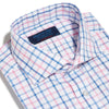 Contemporary Fit, Cut-away Collar, 2 Button Cuff Shirt in a Pink, Blue & White Overcheck Twill Cotton