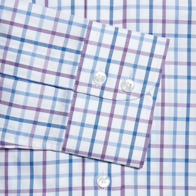 Contemporary Fit, Cut-away Collar, 2 Button Cuff Shirt in a Purple, Blue & White Overcheck Twill Cotton