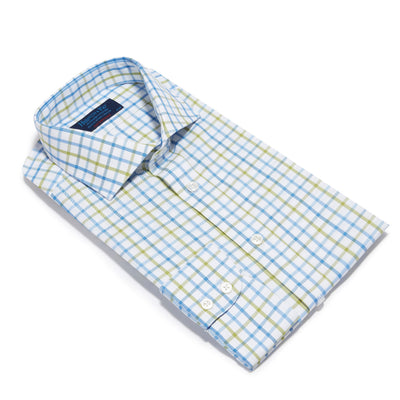Contemporary Fit, Cut-away Collar, 2 Button Cuff Shirt in a Green, Blue & White Overcheck Twill Cotton
