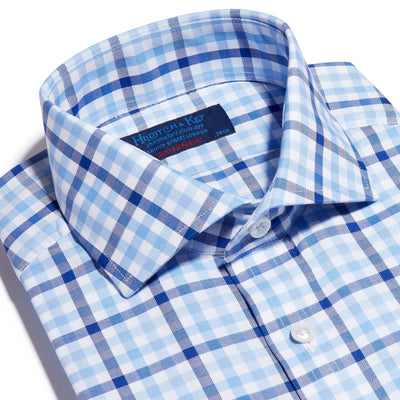Navy, Blue & White Large Check Twill Cotton Contemporary Fit, Cut-away Collar, 2 Button Cuff Shirt