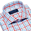 Red, Blue & White Large Check Twill Cotton Contemporary Fit, Cut-away Collar, 2 Button Cuff Shirt