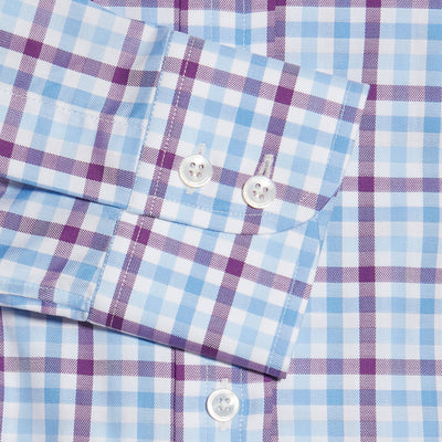 Purple, Blue & White Large Check Twill Cotton Contemporary Fit, Cut-away Collar, 2 Button Cuff Shirt