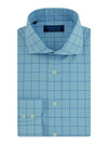 Contemporary Fit, Cut-away Collar, 2 Button Cuff Shirt in a Blue, White & Navy Check Poplin Cotton