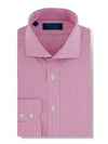 Contemporary Fit, Cut-away Collar, 2 Button Cuff Shirt in a Pink & White Check Poplin Cotton