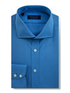 Contemporary Fit, Cut-away Collar, 2 Button Cuff Shirt in a Plain Mid Blue Poplin Cotton