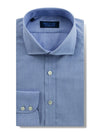 Contemporary Fit, Cut-away Collar, 2 Button Cuff Shirt in a Plain Mid Blue End-On-End Cotton