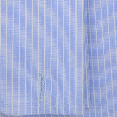 Contemporary Fit, Cut-away Collar, Double Cuff Shirt in a Blue Stripe End-On-End Cotton