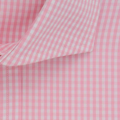 Classic Fit, Cut-away Collar, Double Cuff Shirt in a Pink & White Check Poplin Cotton