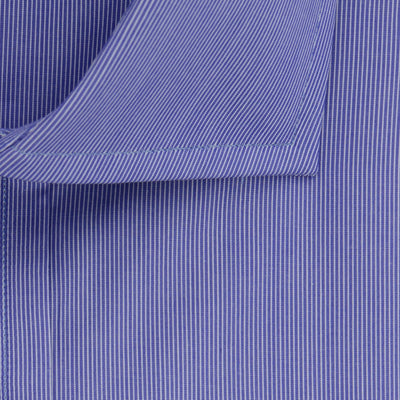 Contemporary Fit, Cut-away Collar, 2 Button Cuff Shirt in a Navy & White Stripe Poplin Cotton