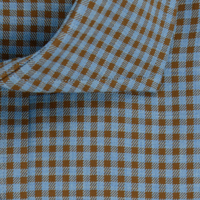 Contemporary Fit, Cut-away Collar, 2 Button Cuff Shirt in a Brown & Blue Check Twill Cotton