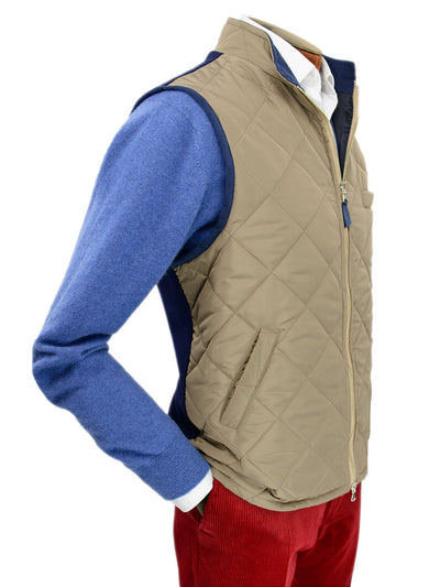 Fawn Quilted Gilet With Navy Knitted Back