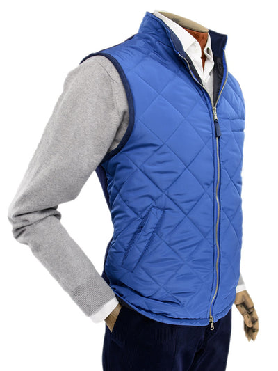 Mid Blue Quilted Gilet With Navy Knitted Back
