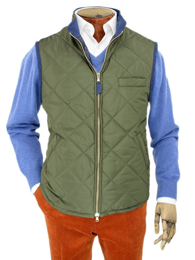 Green Quilted Gilet With Navy Knitted Back