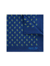 Navy Silk Handkerchief with Gold & Blue Paisley