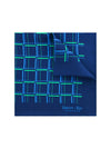 Navy Silk Handkerchief with Green & Blue Grid