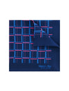 Navy Silk Handkerchief with Cerise & Blue Grid