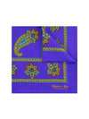 Mauve  Silk Handkerchief with Green, Purple & Blue Paisley