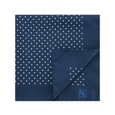 Dark Navy Silk Handkerchief with White Medium Spots