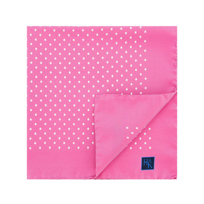 Pink Silk Handkerchief with White Medium Spots