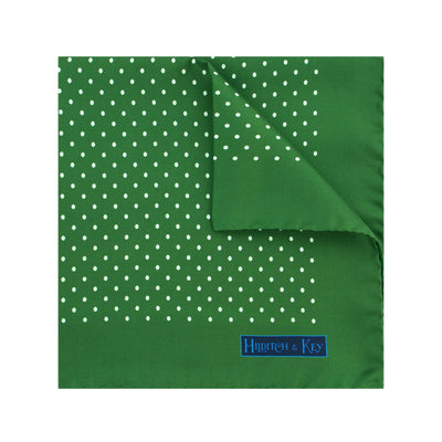 Green Silk Handkerchief with White Medium Spots